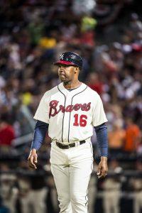 Bo Porter as # 16 with the Atlanta Braves